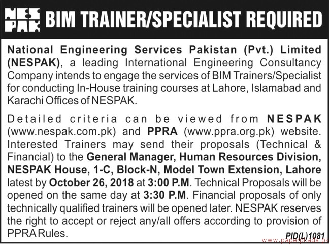 National Engineering Services Pakistan Pvt Limited Jobs 2018 Latest