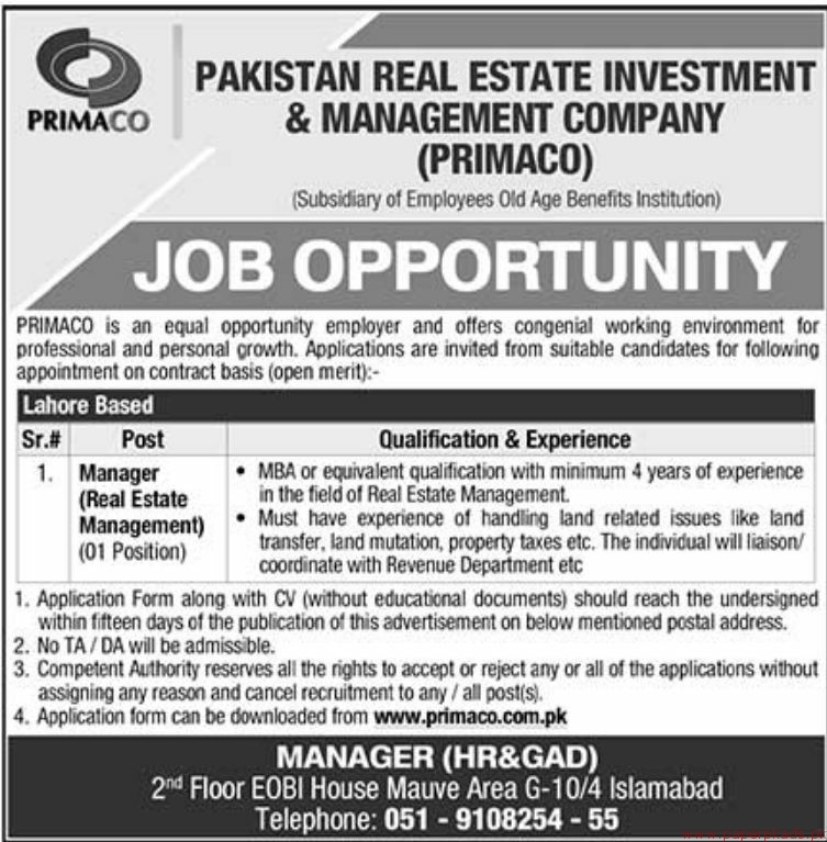 Pakistan Real Estate Investment and Management Company PRIMACO Jobs 2018 Latest