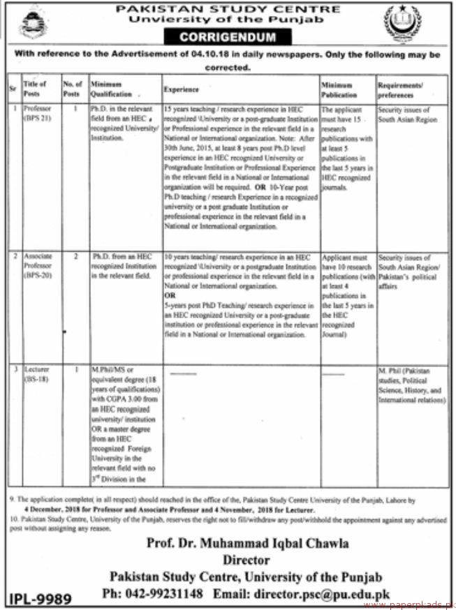 Pakistan Study Centre University of the Punjab Jobs 2018 Latest