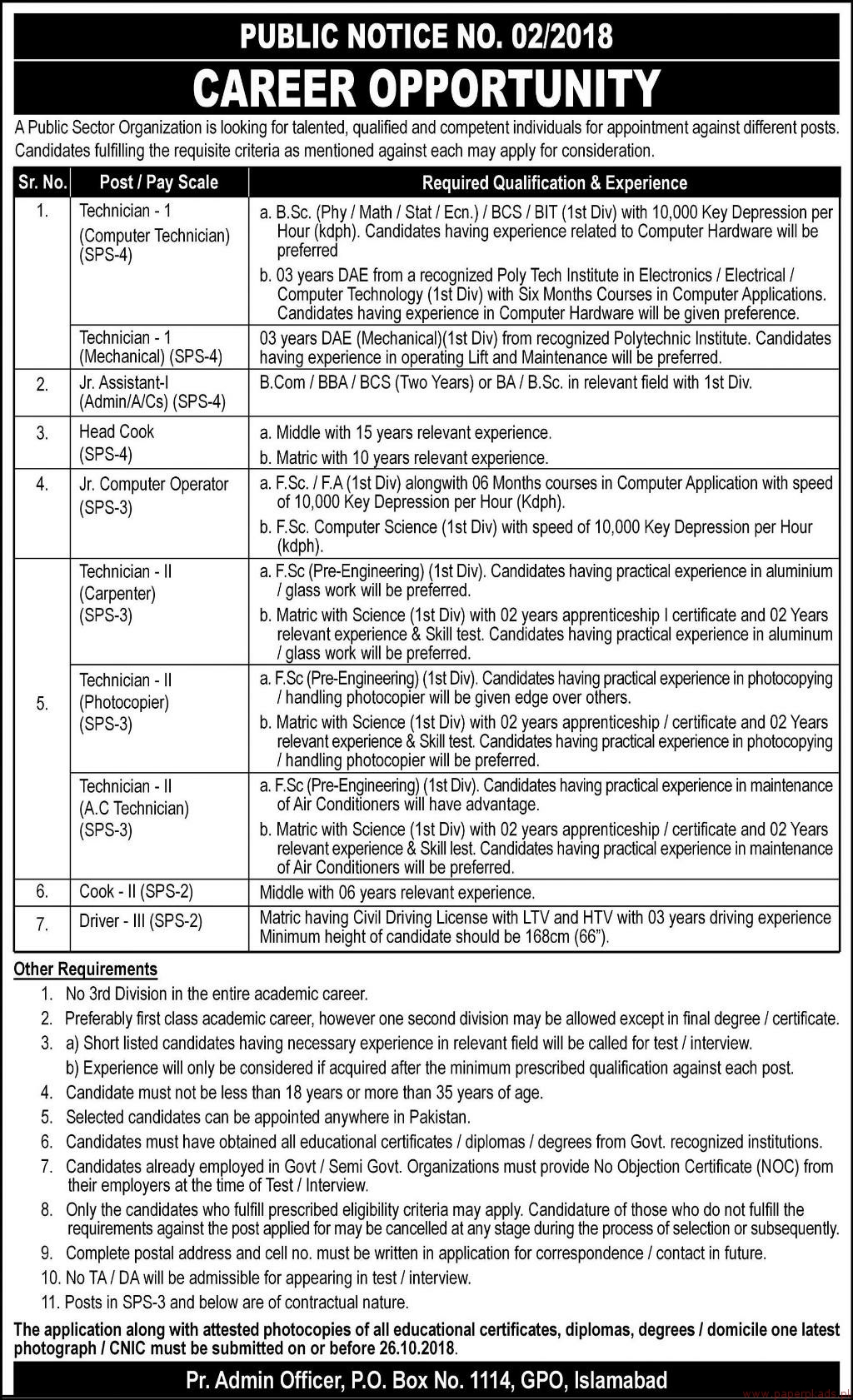 Public Sector Organization Jobs 2018 Latest