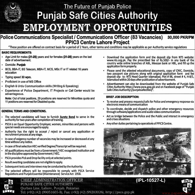 Punjab Safe Cities Authority Jobs 2018 Latest
