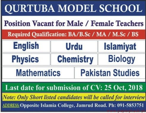 Qurtuba Model School Jobs 2018 Latest