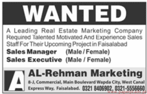 Real Estate Marketing Company Staff Required