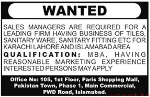 Sales Managers Required