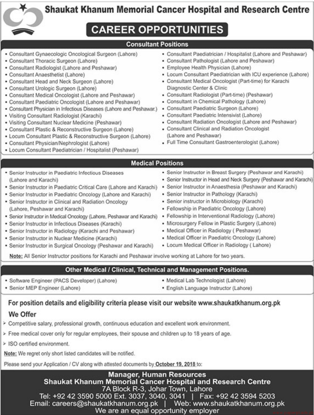 Shaukat Khanum Memorial Cancer Hospital and Research Centre Jobs 2018 Latest