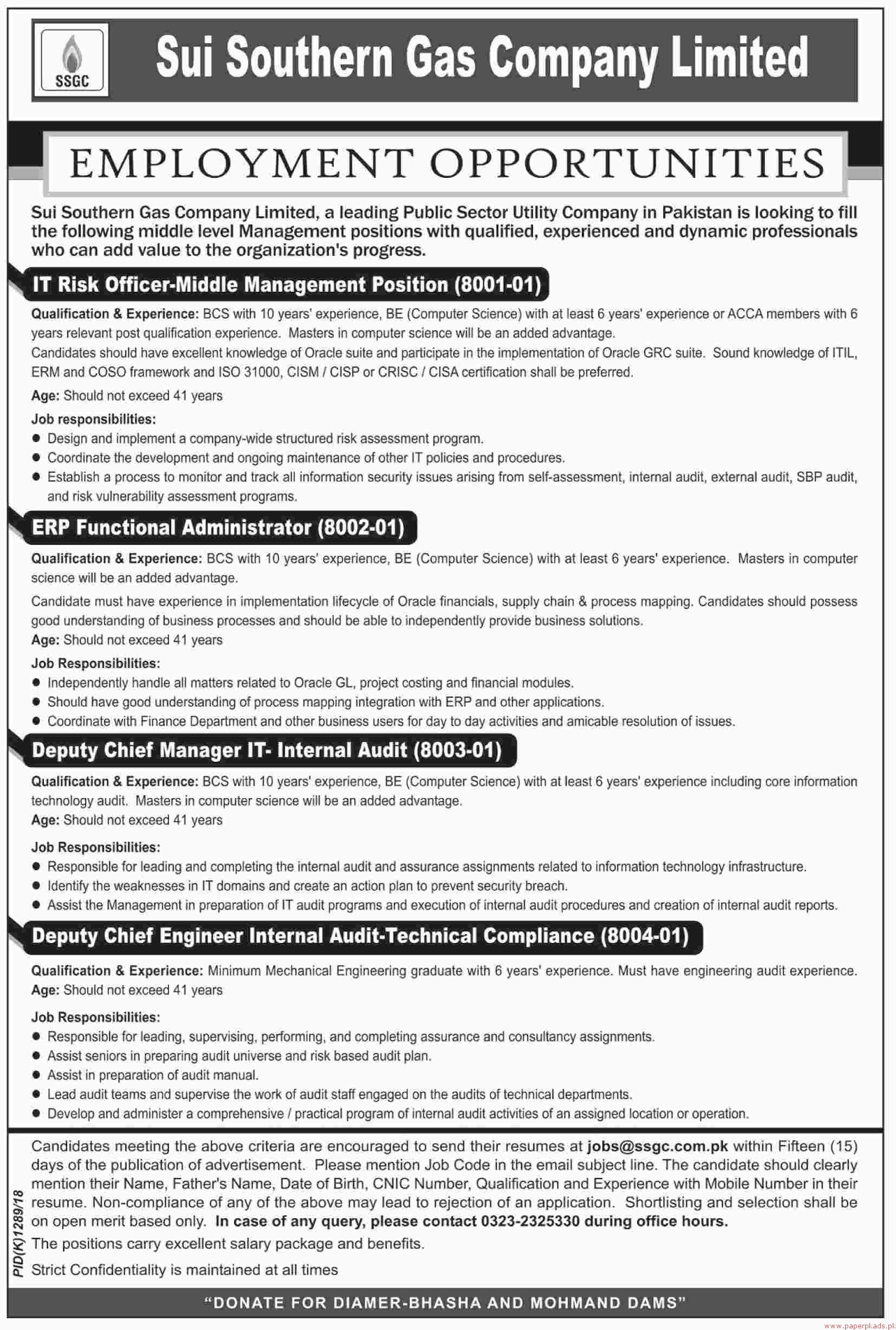 Sui Southern Gas Company Limited Jobs 2018 Latest