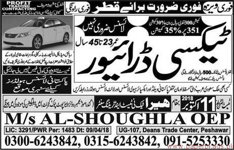 Taxi Drivers Required for QATAR