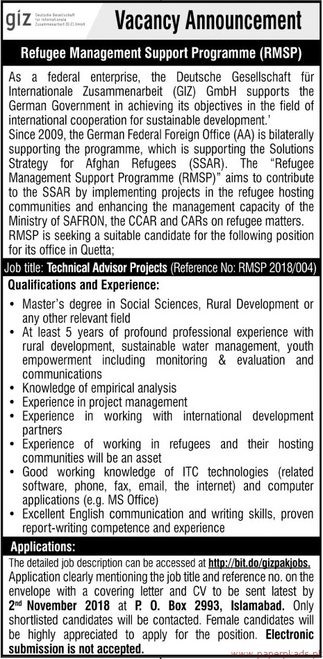 Technical Advisors Project Jobs 2018 Latest