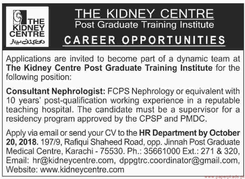 The Kidney Centre Jobs 2018 Latest