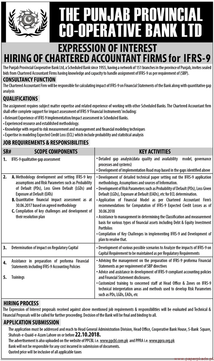 The Punjab Co-operative Bank Limited Jobs 2018 Latest