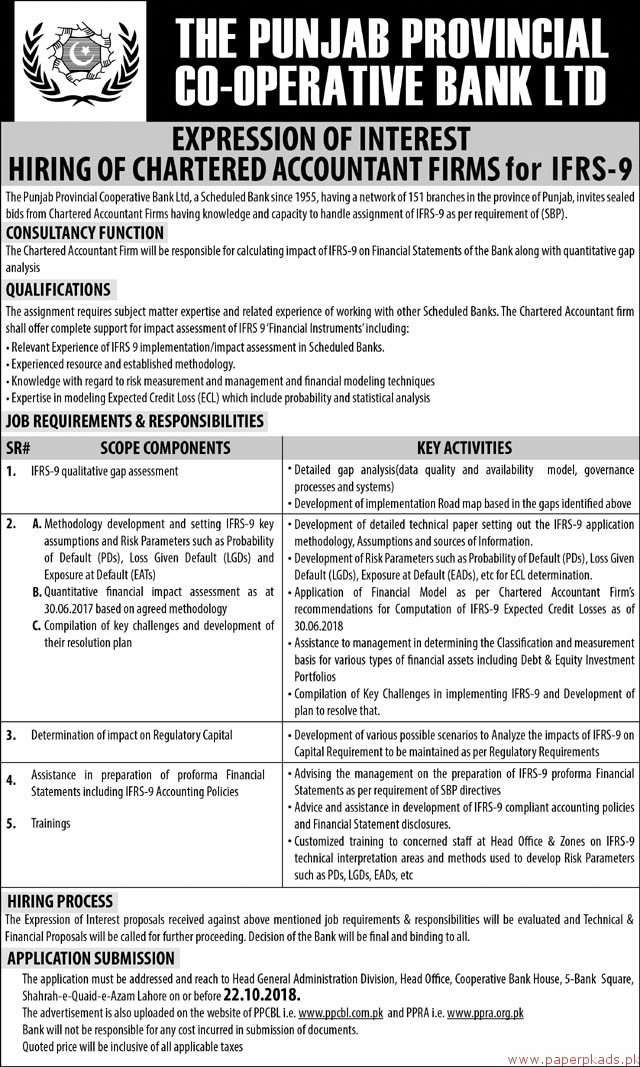 The Punjab Provincial Co-Operative Bank Limited Jobs 2018 Latest