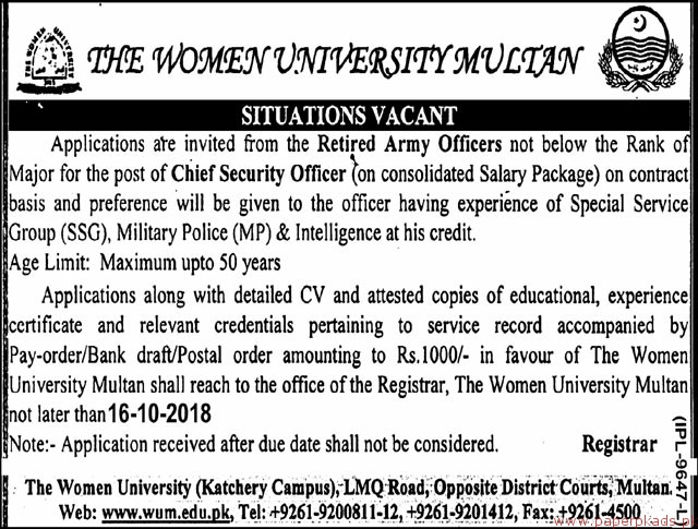 The Women University Multan Jobs 2018 Latest