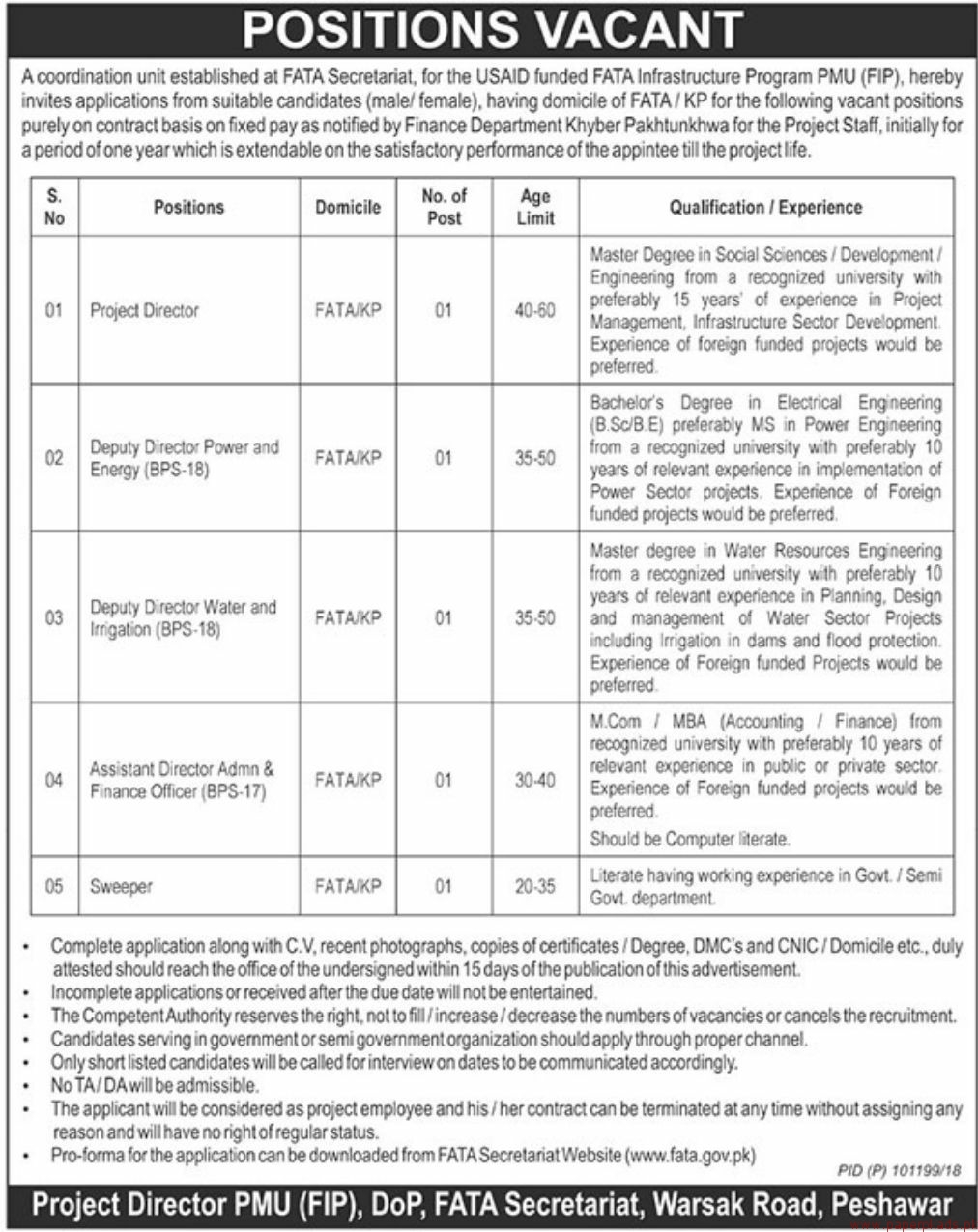 USAID Funded FATA Infrastructure Program Jobs 2018 Latest