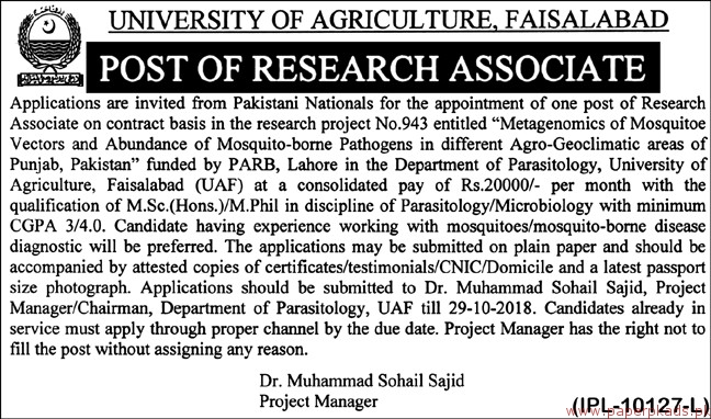 University of Agriculture Faisalabad Jobs 2018 Latest
