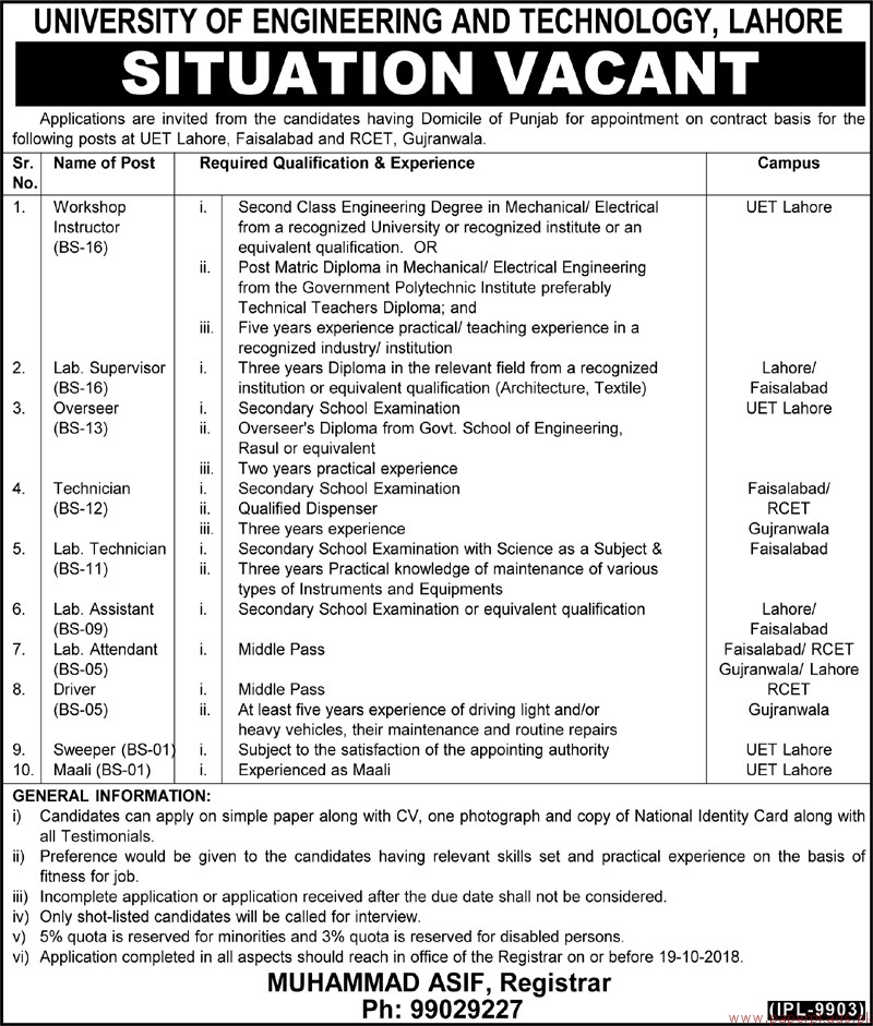 University of Engineering and Technology Lahore Jobs 2018 Latest