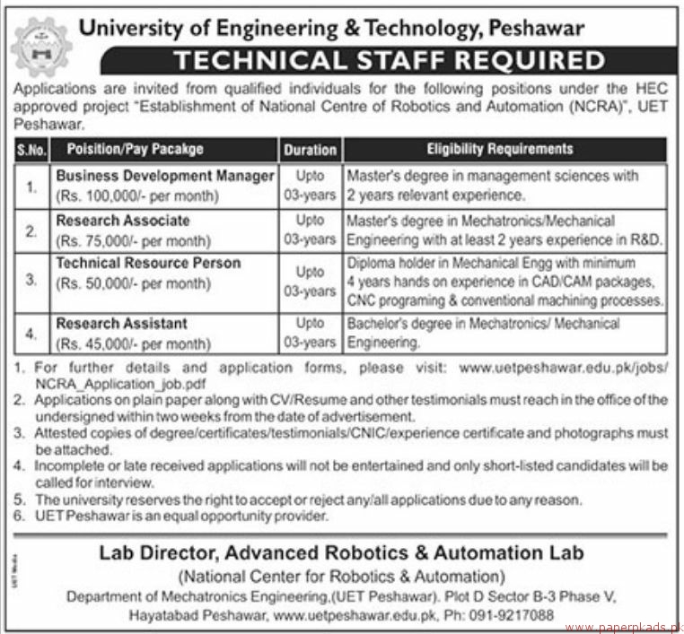 University of Engineering and Technology Peshawar Jobs 2018 Latest
