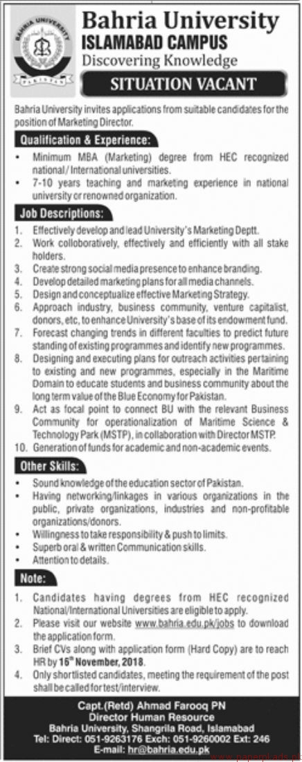 Bahria University Islamabad Jobs 2018 Latest