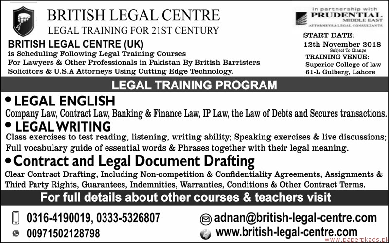 British Legal Centre Jobs 2018 Latest