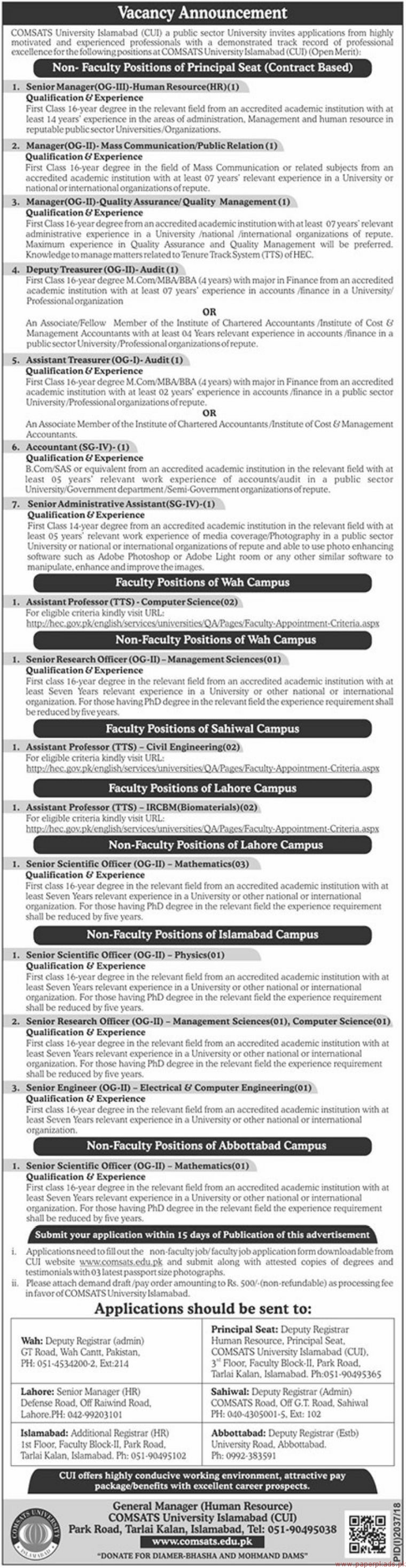 COMSATS University Islamabad (CUI) Jobs 2018 Latest