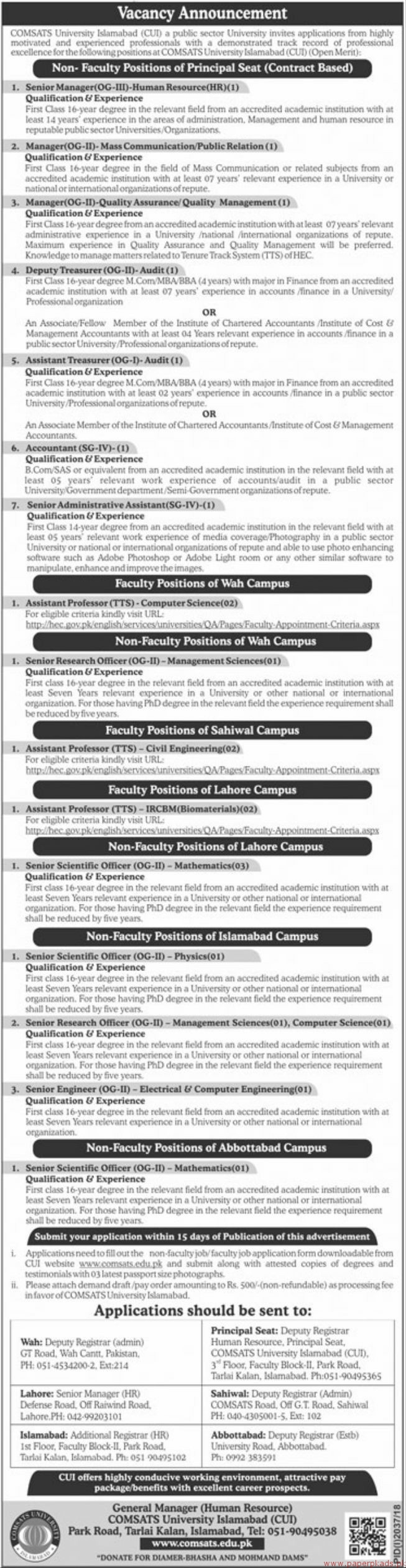 COMSATS University Islamabad CUI Jobs 2018 Latest