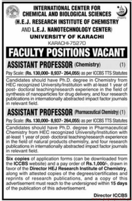 Chemical and Biological Sciences University of Karachi Jobs 2018 Latest