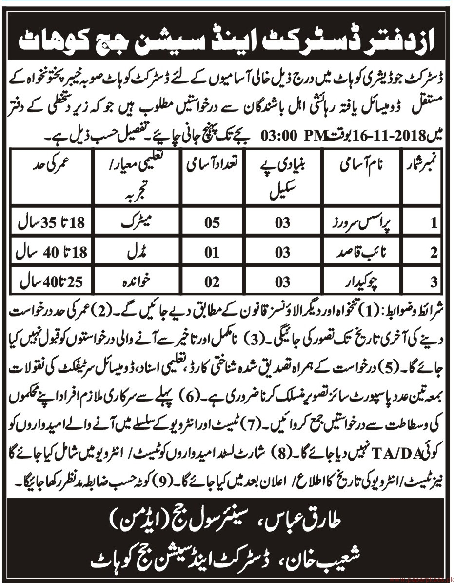 District & Session Judge Kohat Jobs 2018 Latest