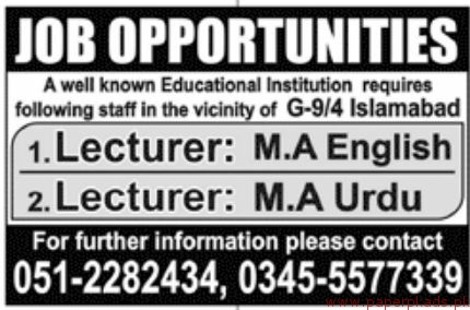 Educational Institution Jobs 2018 Latest