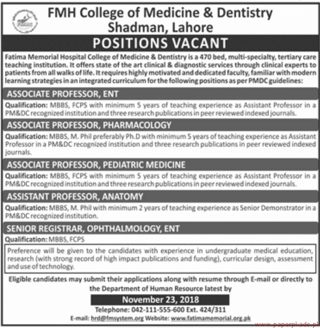 FMH College of Medicine & Dentistry Shadman Lahore Jobs 2018 Latest