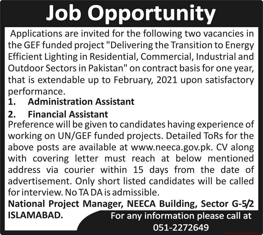 GEF Funded Project Jobs 2018 Latest