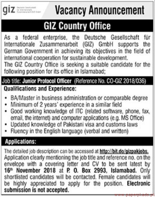 GIZ Country Office Jobs 2018 Latest