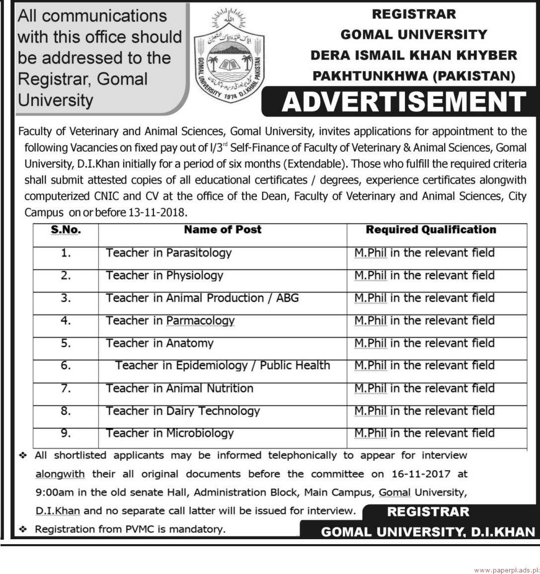 Gomal University Jobs 2018 Latest