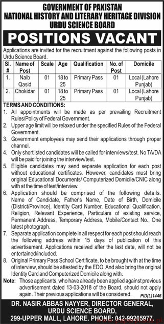 Government of Pakistan - National History and Literary Heritage Division Urdu Science Board Jobs 2018 Latest