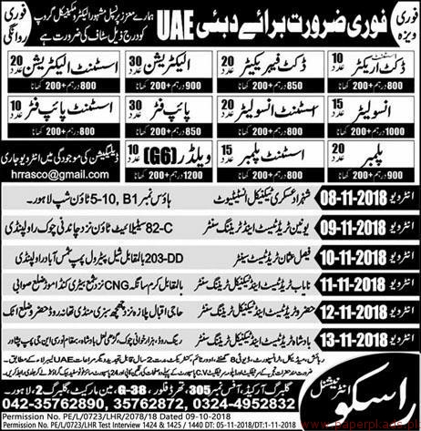 Insulator, Assistant Insulator, Electricians, Pipe Fitter Jobs in UAE