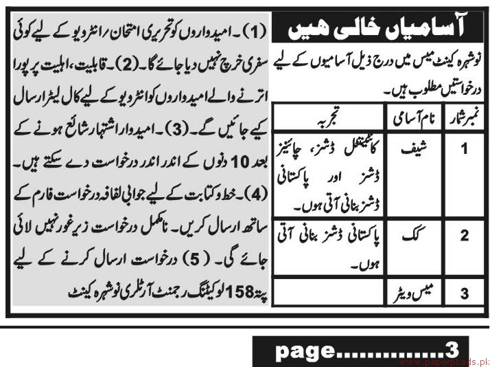 Jobs in Nowshera Cantt 2018 Latest