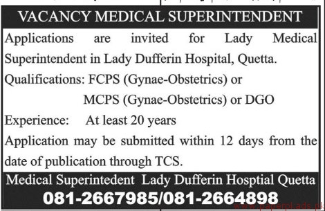 Lady Dufferin Hospital Quetta Jobs 2018 Latest