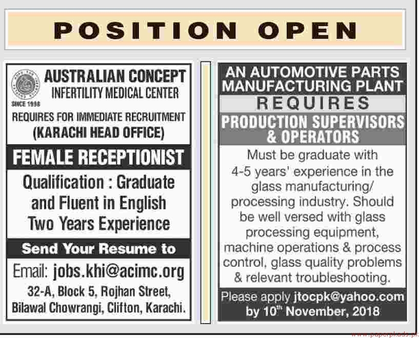 Multiple Jobs - Dawn Newspaper Jobs 04 November 2018