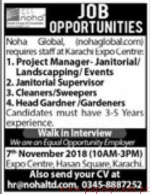 Noha Global Expo Centre Jobs 2018 Latest