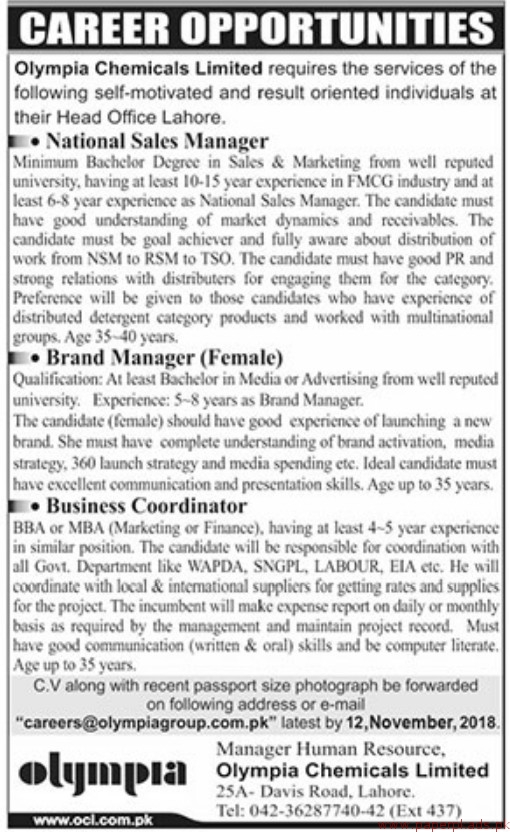 Olympia Chemicals Limited Jobs 2018 Latest