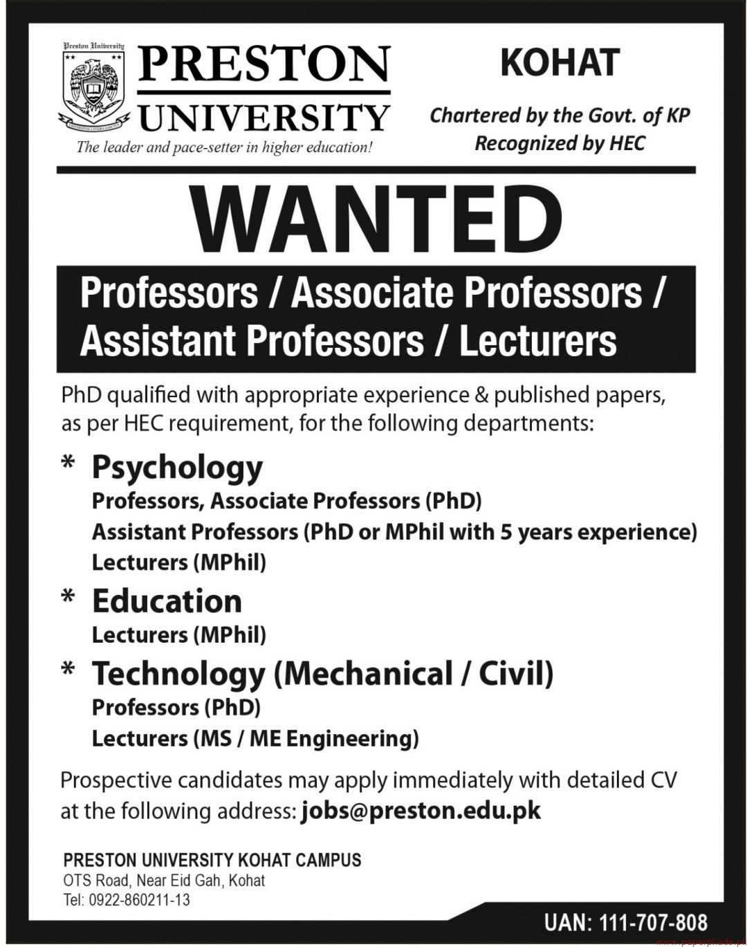 PRESTON University Jobs 2018 Latest