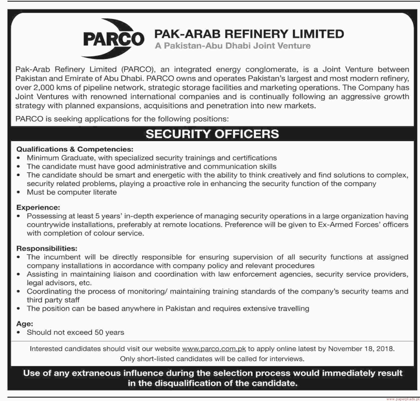 Pak-Arab Refinery Limited PARCO Jobs 2018 Latest