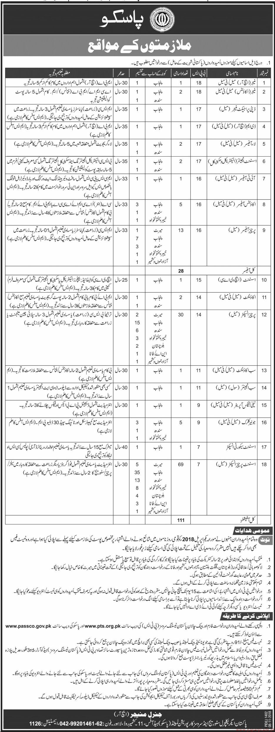 Pakistan Agriculture Storage and Services Corporation PASSCO Jobs 2018 Latest