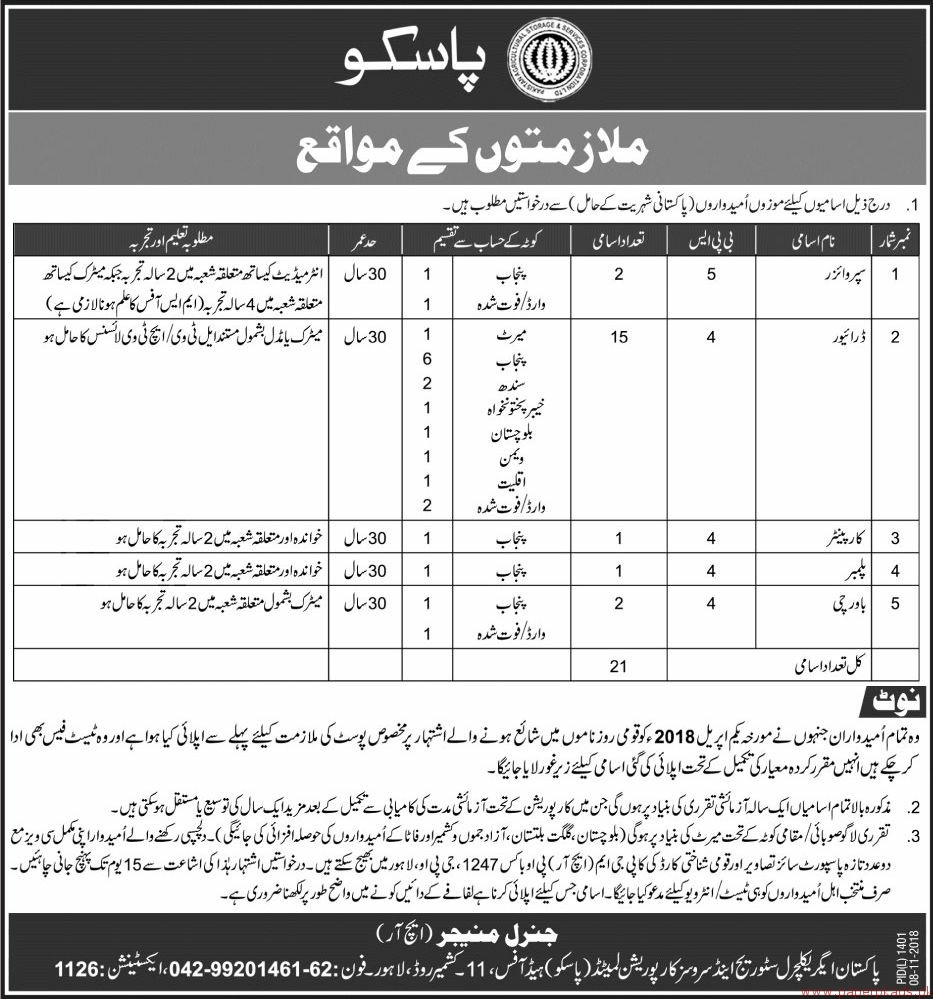 Pakistan Agriculture Storage and Services Corporation (PASSCO) Jobs 2018 Latest