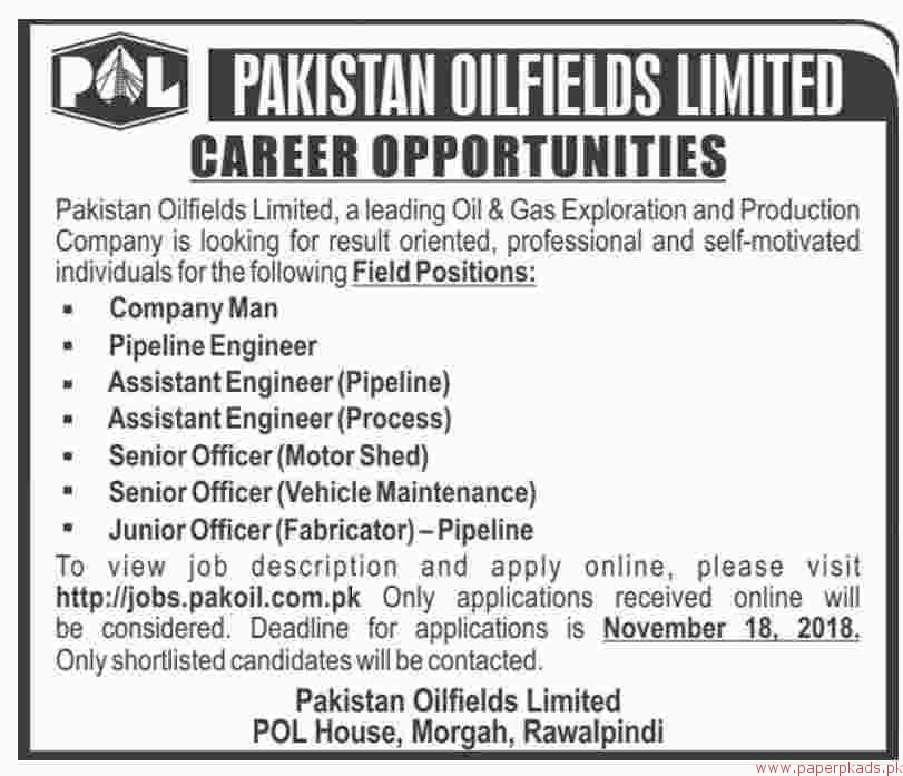 Pakistan Oil Fields Limited Jobs 2018 Latest