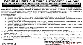 Parks & Horticulture Authority Lahore Jobs 2018 Latest
