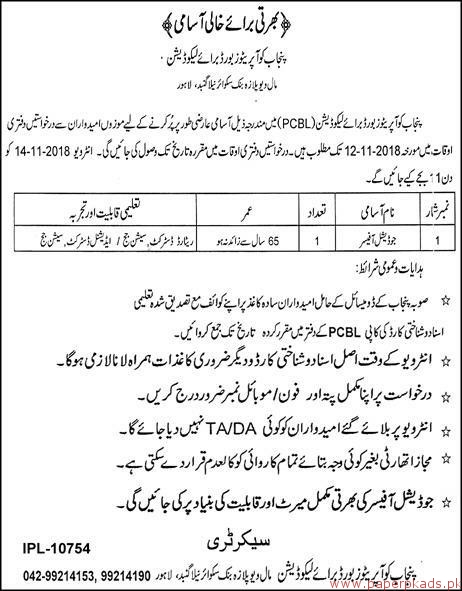 Punjab Cooperative Board for Liquidation Jobs 2018 Latest