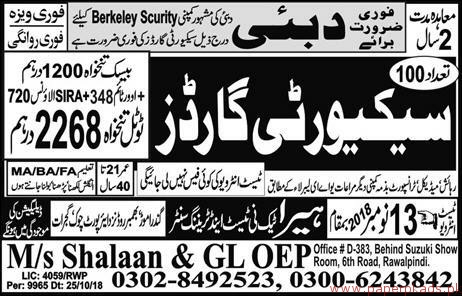 Security Guards Required for Dubai
