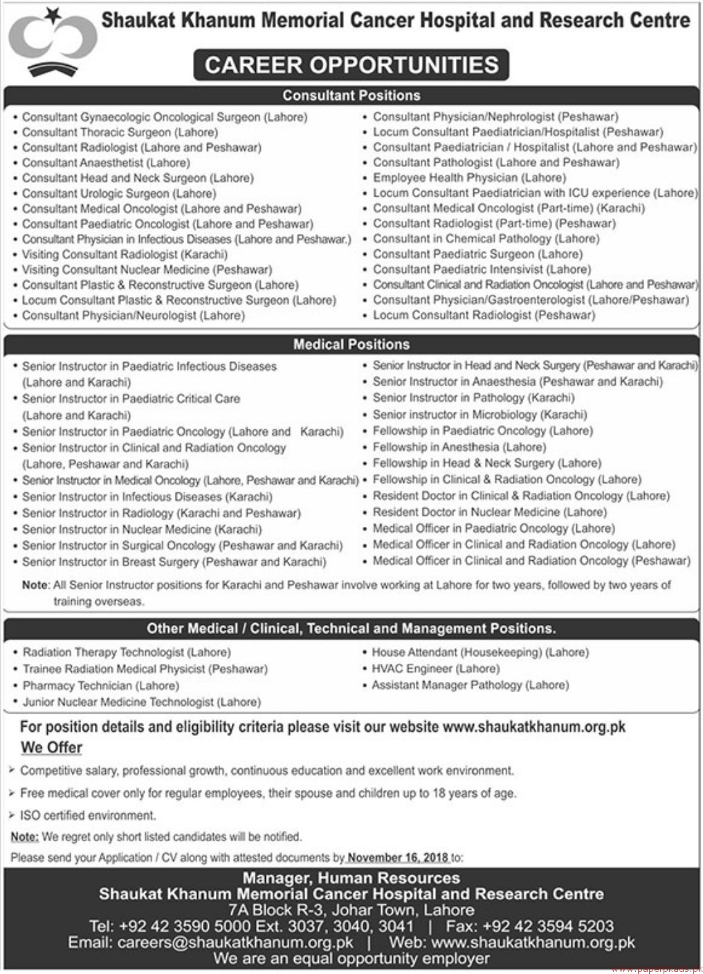 Shaukat Khanum Memorial Cancer Hospital & Research Centre Jobs 2018 Latest