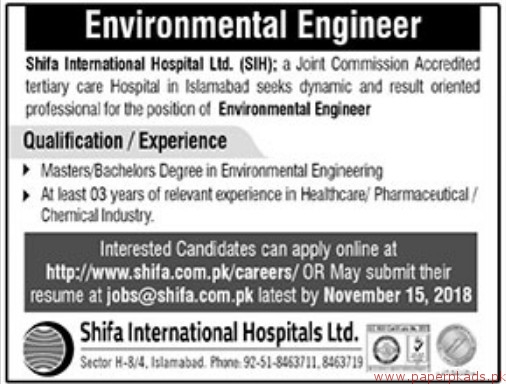 Shifa International Hospital Limited Jobs 2018 Latest