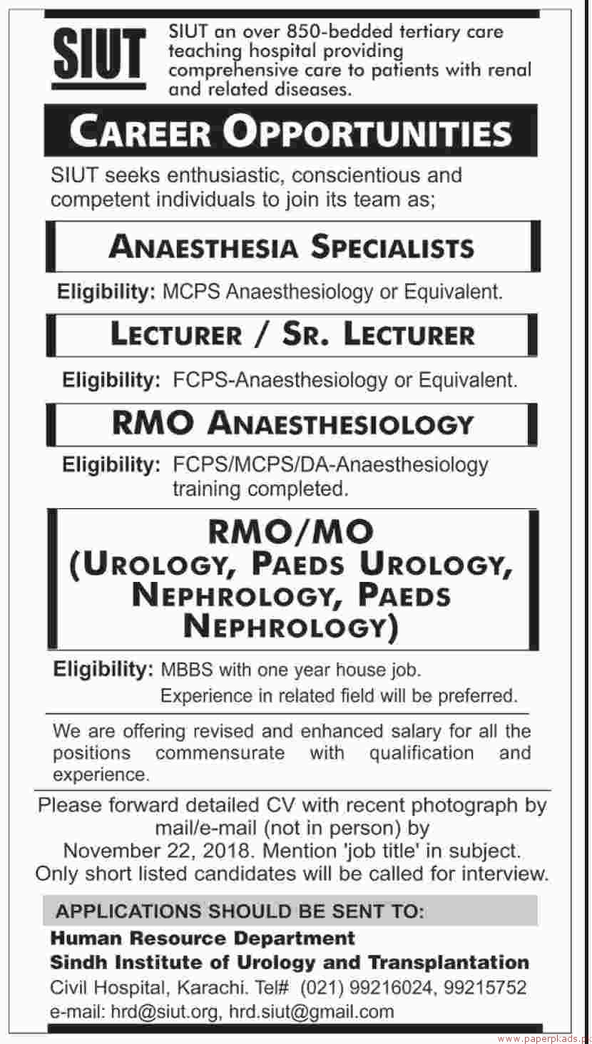 Sindh Institute of Urology and Transplantation SIUT Jobs 2018 Latest