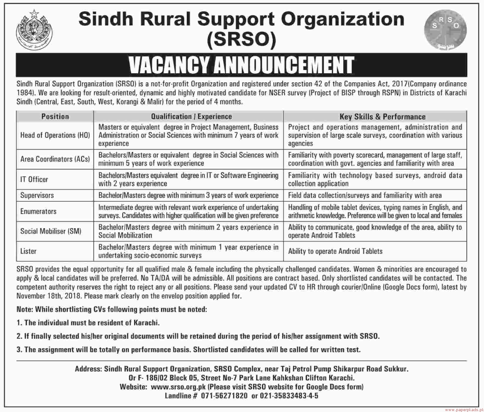 Sindh Rural Support Organization (SRSO) Jobs 2018 Latest